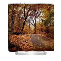 Autumn's Final Act Shower Curtain by Jessica Jenney