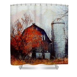 Autumn's Last Blaze Shower Curtain by Janine Riley