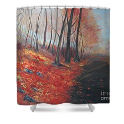 Shower Curtain featuring the painting Autumns Pathway by Leslie Allen
