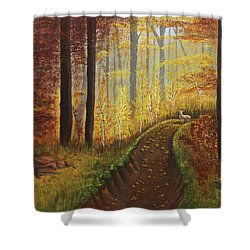 Autumn's Wooded Riverbed Shower Curtain by Christie Nicklay