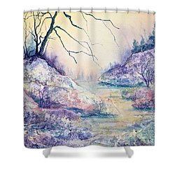 Shower Curtain featuring the painting Autumnscape In Purple by Carolyn Rosenberger