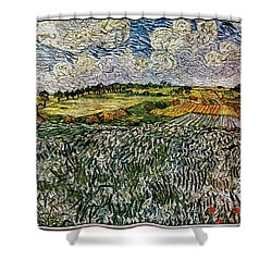 Shower Curtain featuring the painting Landscape Auvers28 by Pemaro