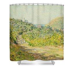 Aux Petites Dalles Shower Curtain by Claude Monet