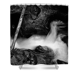 Avalanche Creek Bw Shower Curtain by Vinnie Oakes
