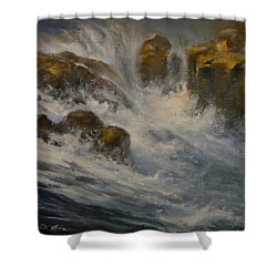 Avalanche Falls Shower Curtain by Mia DeLode