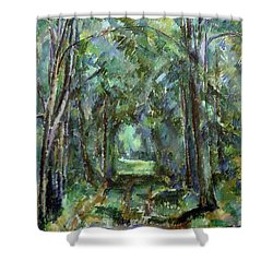 Avenue At Chantilly Shower Curtain by Paul Cezanne