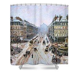 Avenue De L'opera - Effect Of Snow Shower Curtain by Camille Pissarro