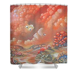 Avian Landscape Shower Curtain