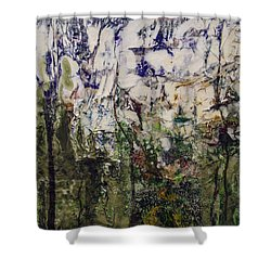 Shower Curtain featuring the painting Aviary by Ron Richard Baviello