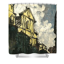 Shower Curtain featuring the painting Avignon Provence Street View by Martin Stankewitz