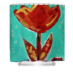 Shower Curtain featuring the painting Avis-flowers From The Flower Patch by Mary Carol Williams