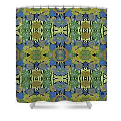 Shower Curtain featuring the painting Avocado Blue Pattern by Lisa Weedn
