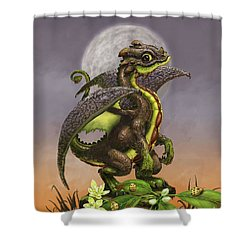 Shower Curtain featuring the digital art Avocado Dragon by Stanley Morrison