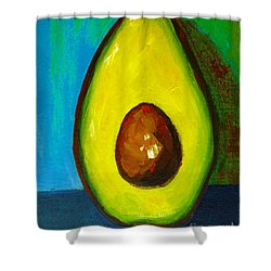 Avocado, Modern Art, Kitchen Decor, Blue Green Background Shower Curtain