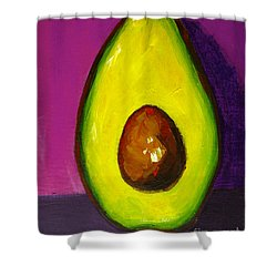 Avocado Modern Art, Kitchen Decor, Purple Background Shower Curtain