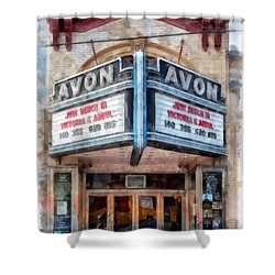 Shower Curtain featuring the painting Avon Cinema Theater East Providence Rhode Island by Edward Fielding