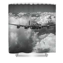 Shower Curtain featuring the photograph Avro Lancaster Above Clouds Bw Version by Gary Eason