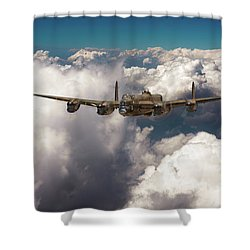 Shower Curtain featuring the photograph Avro Lancaster Above Clouds by Gary Eason