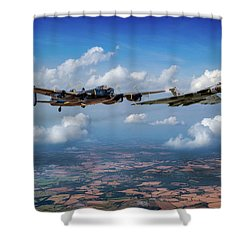 Shower Curtain featuring the photograph Avro Sisters  by Gary Eason