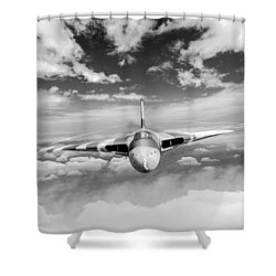 Shower Curtain featuring the digital art Avro Vulcan Head On Above Clouds by Gary Eason