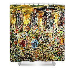 Shower Curtain featuring the painting Awaiting The Sun by Alfred Motzer