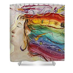 Shower Curtain featuring the painting Awakening Consciousness by Donna Walsh