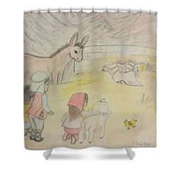 Away In A Manger With Child Shepherds Shower Curtain by Christy Saunders Church