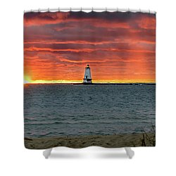 Awesome Sunset With Lighthouse  Shower Curtain