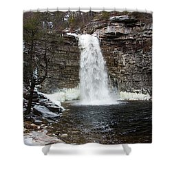 Awosting Falls In January #1 Shower Curtain by Jeff Severson