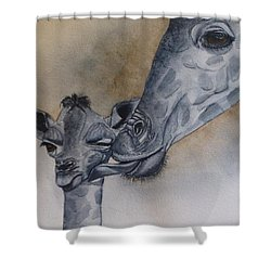 Baby And Mother Giraffe Shower Curtain