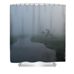 Axe In The Mist Shower Curtain by Gary Bridger