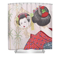 Ayano -- Portrait Of Japanese Geisha Girl Shower Curtain