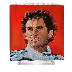 Ayrton Senna Portrait Painting Shower Curtain by Paul Meijering