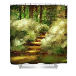 Azalea Stairs Shower Curtain by Lois Bryan
