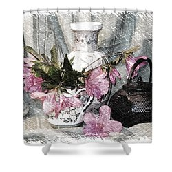 Azaleas And Teapot Shower Curtain