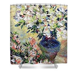 Azaleas Shower Curtain by Claude Monet