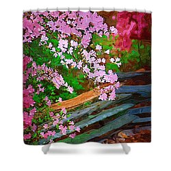 Shower Curtain featuring the photograph Azaleas Over The Fence by Donna Bentley