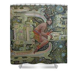 Aztec Astronaut Shower Curtain