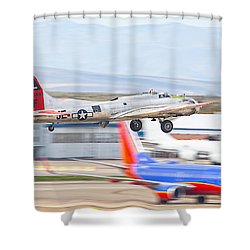 Shower Curtain featuring the photograph B-17 Bomber by Dart and Suze Humeston