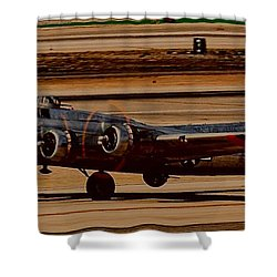 Shower Curtain featuring the photograph B-17 Bomber by Dart Humeston