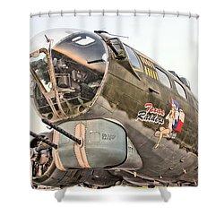 B-17 Texas Raiders Shower Curtain by Michael Daniels