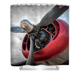 Shower Curtain featuring the photograph B-24j Liberator Engine II by Kristia Adams