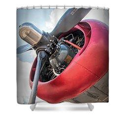 Shower Curtain featuring the photograph B-24j Liberator Engine by Kristia Adams