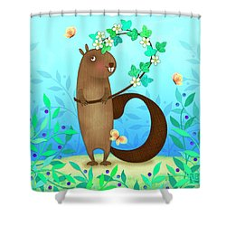 B Is For Beaver With A Blossoming Branch Shower Curtain