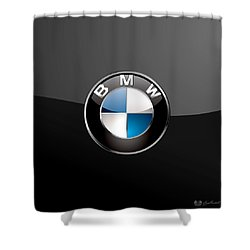 B M W  3 D Badge On Black Shower Curtain by Serge Averbukh