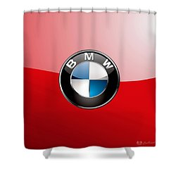 B M W Badge On Red  Shower Curtain