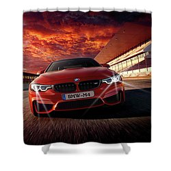 B M W  M 4 Shower Curtain by Movie Poster Prints