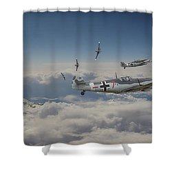 Shower Curtain featuring the digital art B17 - Luftwaffe Battleground by Pat Speirs