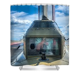 Shower Curtain featuring the photograph B17 Tail Gunner Position by Gary Slawsky
