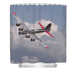 Shower Curtain featuring the photograph B17 - The Last Lap by Pat Speirs